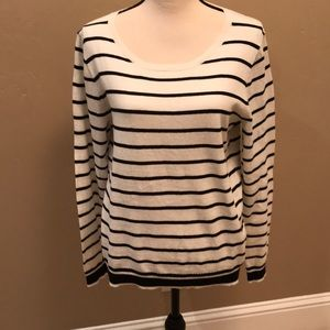 J Crew Cotton Navy and White striped  sweater